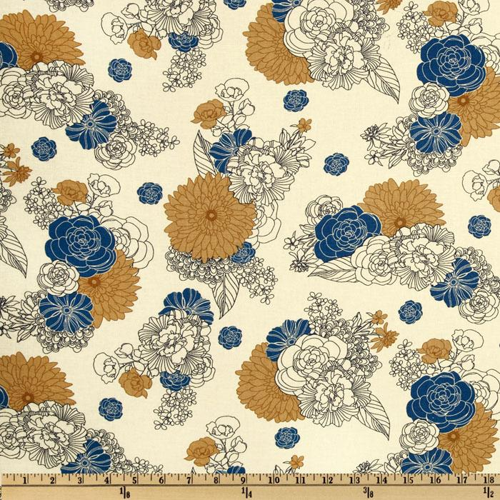 Kaufman Essex Linen Blend La Femme Floral Blue/Tan