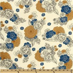 Essex Linen Blend La Femme Floral Blue/Tan