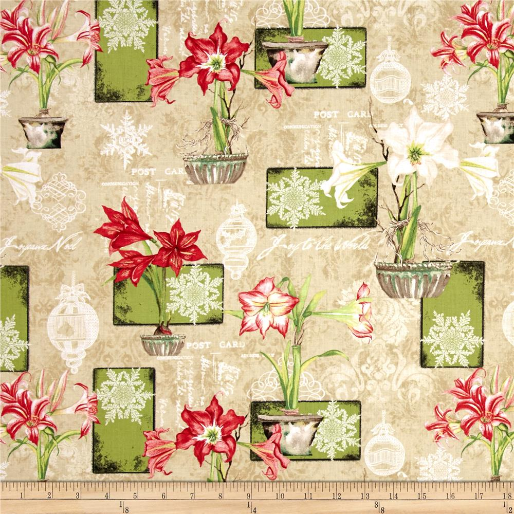 Christmas In Bloom Large Allover Tan