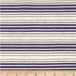 Sheer Yarn-Dyed Striped Jersey Knit Navy