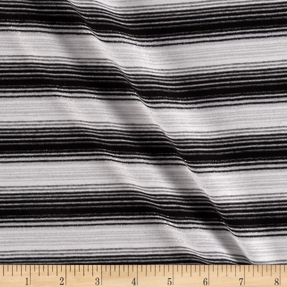 Metallic Blend Jersey Knit Stripes Silver/Black/White