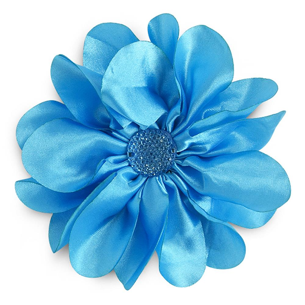 "4-1/2"" Satin Flower Brooch And Hairclip Sparkle Center Blue"