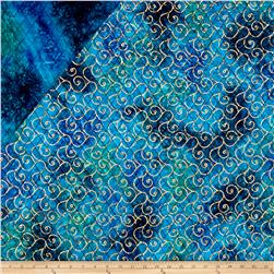 Indian Batik Double Face Quilted Metallic Scroll Gold