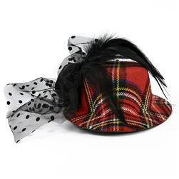 "10"" X 2-1/2"" Fascinator Mini Top Hat Bijou Plaid Red"