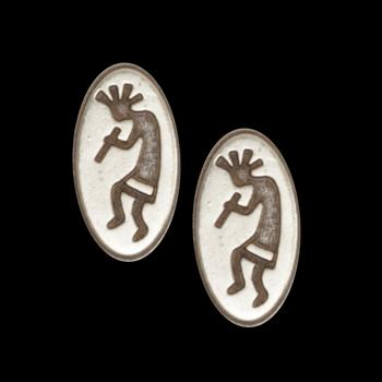Novelty Button 1'' Kokopelli Antique Silver