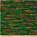 Laurel Burch Sea Spirits Metallic Fish Swimming Green