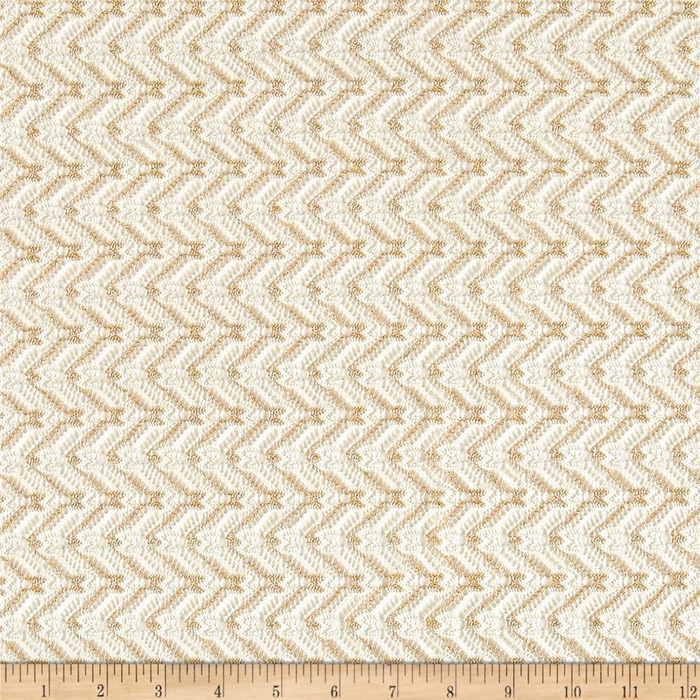 Metallic Lace Chevron Ivory/Gold