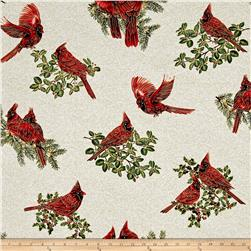 A Festive Season Metallic Backyard Cardinals Cream
