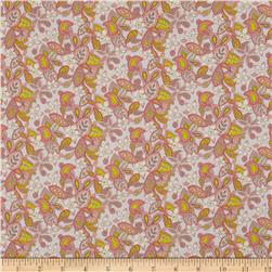 Liberty of London Regent Silk Chiffon Lemon Flowers Peach/Pink
