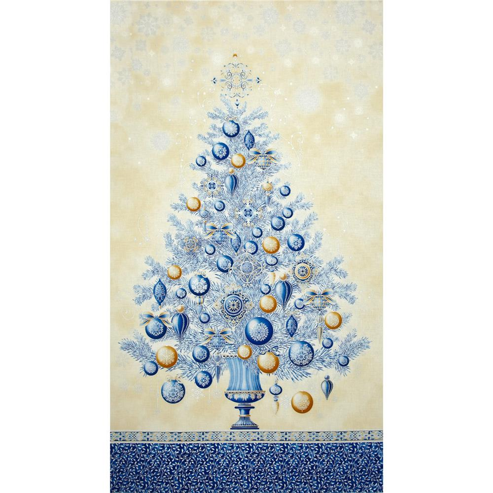 Winter's Grandeur Metallic Tree Panel Indigo