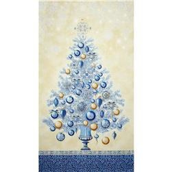 Winter's Grandeur Metallic Tree Panel Indigo Fabric