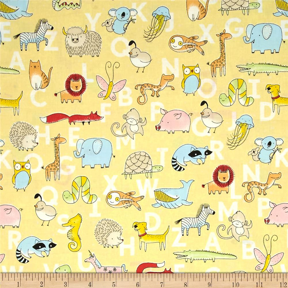 Animal ABCs Toile Organic Cotton Yellow