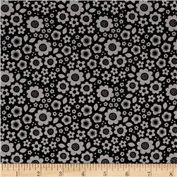 Riley Blake Dot & Dash Flowers Gray