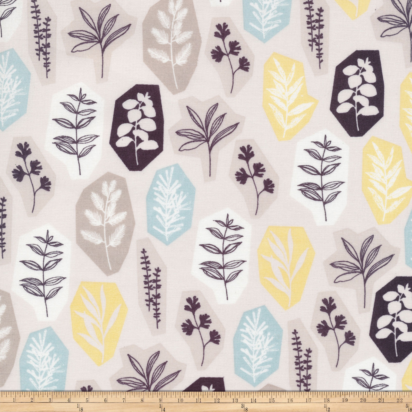 Cloud 9 Organic Sow & Sew Garden Party Blue/gray Fabric