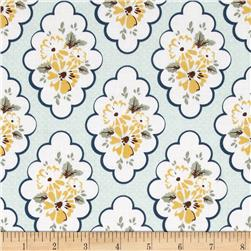 Riley Blake Wiltshire Daisy Floral Blue Fabric
