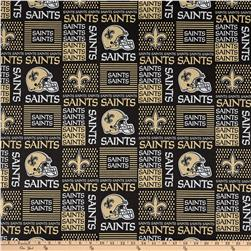 NFL Cotton Broadcloth Louisiana Saints Patchwork Black/Gold