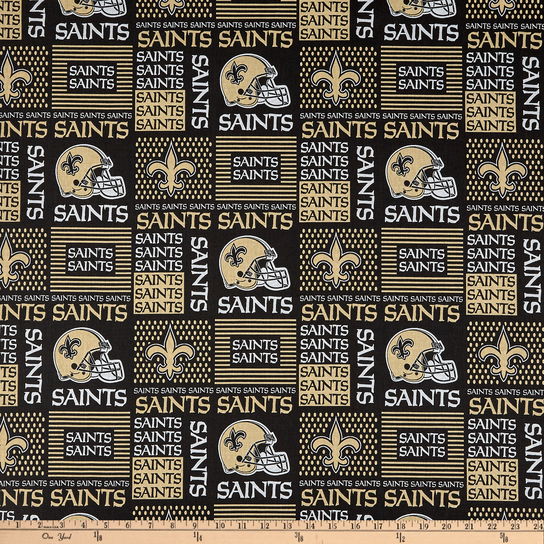 NFL Wide Cotton Broadcloth New Orleans Saints Patchwork