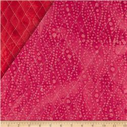 Indian Batik Double Sided Quilted Small Vertical Dots Red