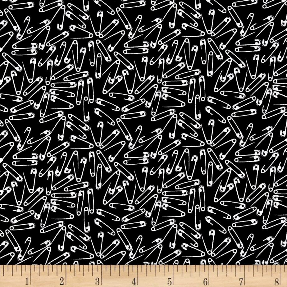 Odds And Ends Safety Pins White On Black