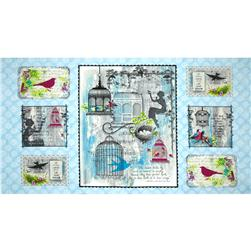 Song Birds Panel Blue