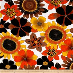 Jersey Knit Abstract Floral Brown Orange