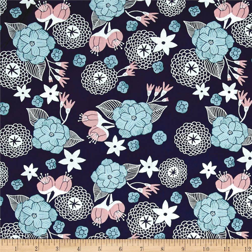 Dear Stella Moon Garden Night Floral Navy