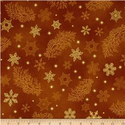 Kaufman Holiday Flourish Metallics Snowflake & Sprigs Gold