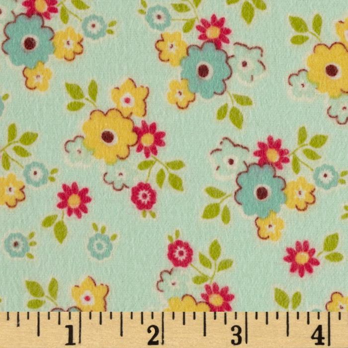 Riley Blake Sidewalks Flannel Small Floral Teal