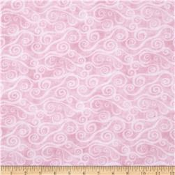 108'' Wide Quilt Back Flannel Swirly Scroll Pink