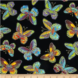 Timeless Treasures Glimmer Metallic Butterfly Black