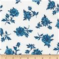 Timeless Treasures True Blue Medium Tossed Flower White