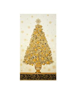 "Kaufman Winter's Grandeur 4 Metallics Tree 24"" Panel Multi"