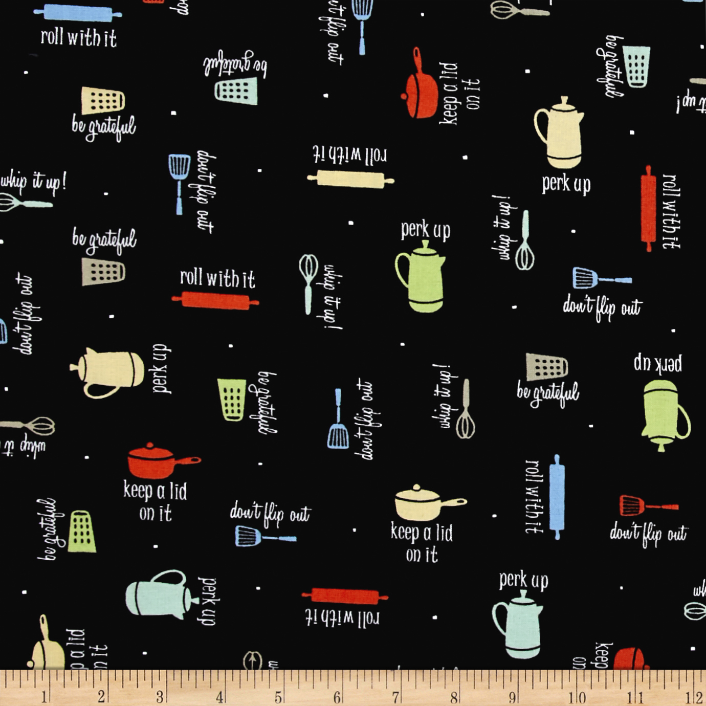Whip It Up Kitchen Items & Phrases Black Fabric 0431833