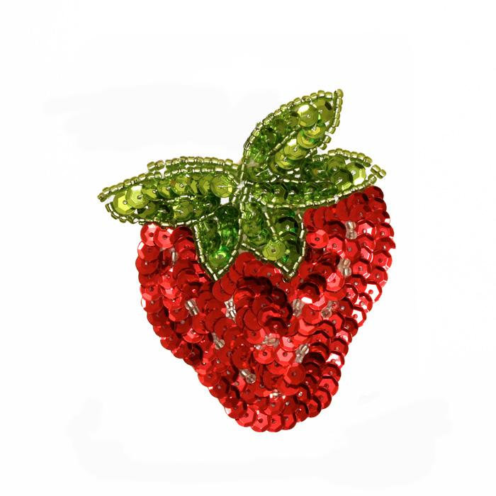 Strawberry Sequin Applique Red