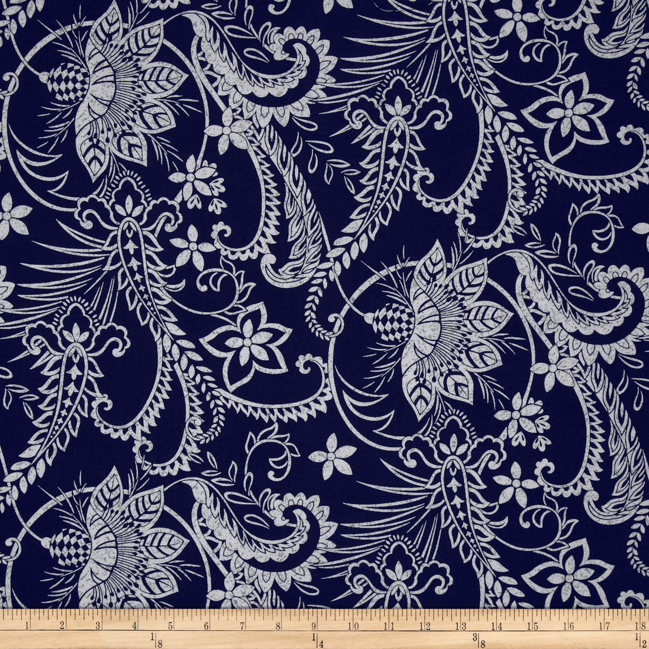 Indigo Blues Large Leaves & Vines Blue Fabric