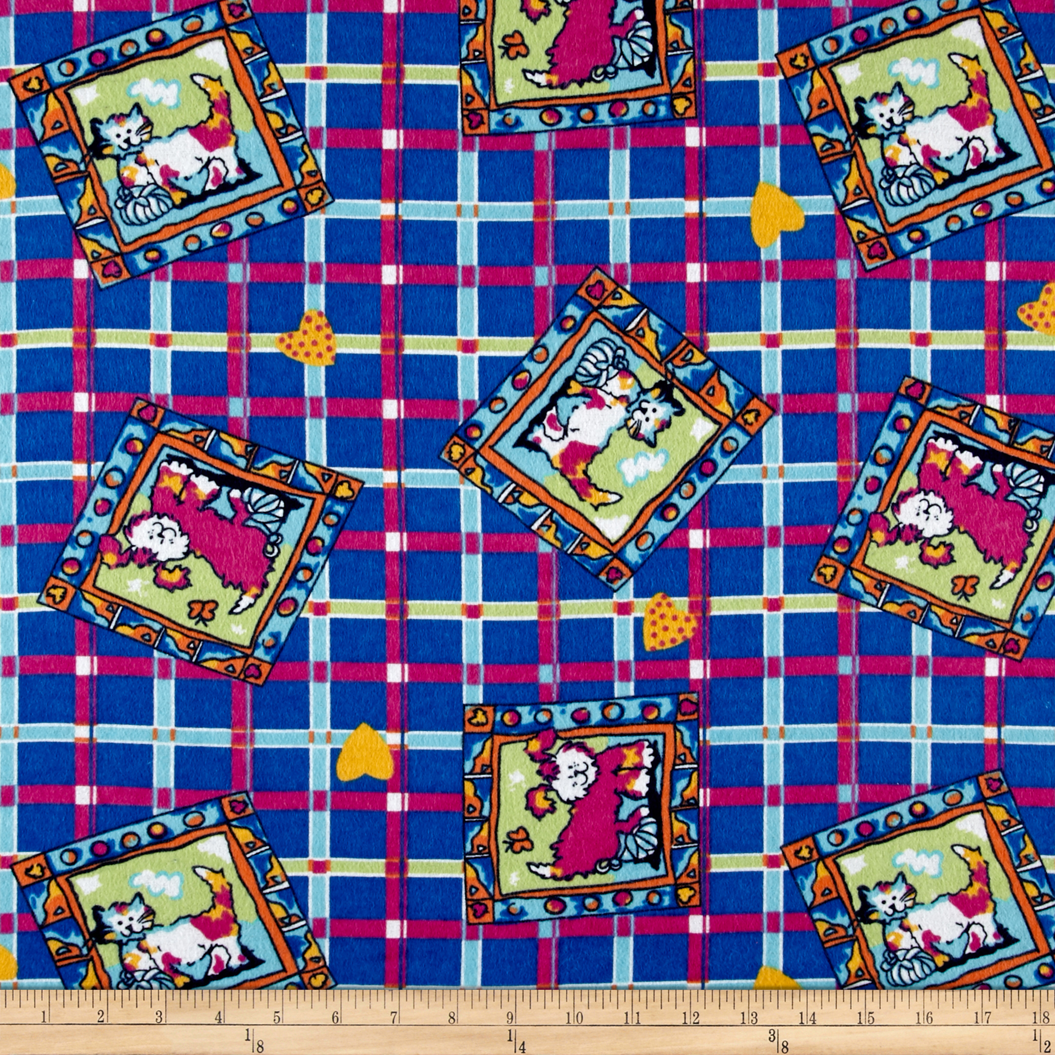 Dog Plaid Flannel Royal Fabric by Newcastle in USA