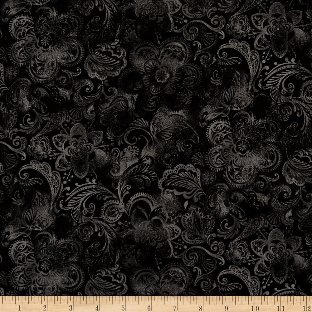 Quilt fleur black discount designer fabric for Black fabric