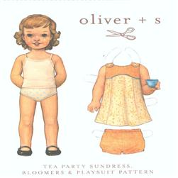 Oliver + S Tea Party Sundress, Bloomers & Playsuit 0-3M to 18-24M
