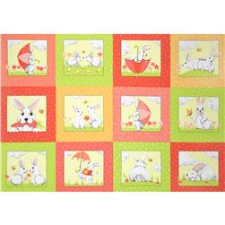 Bert & Beatrice Bunny Blocks Panel Coral