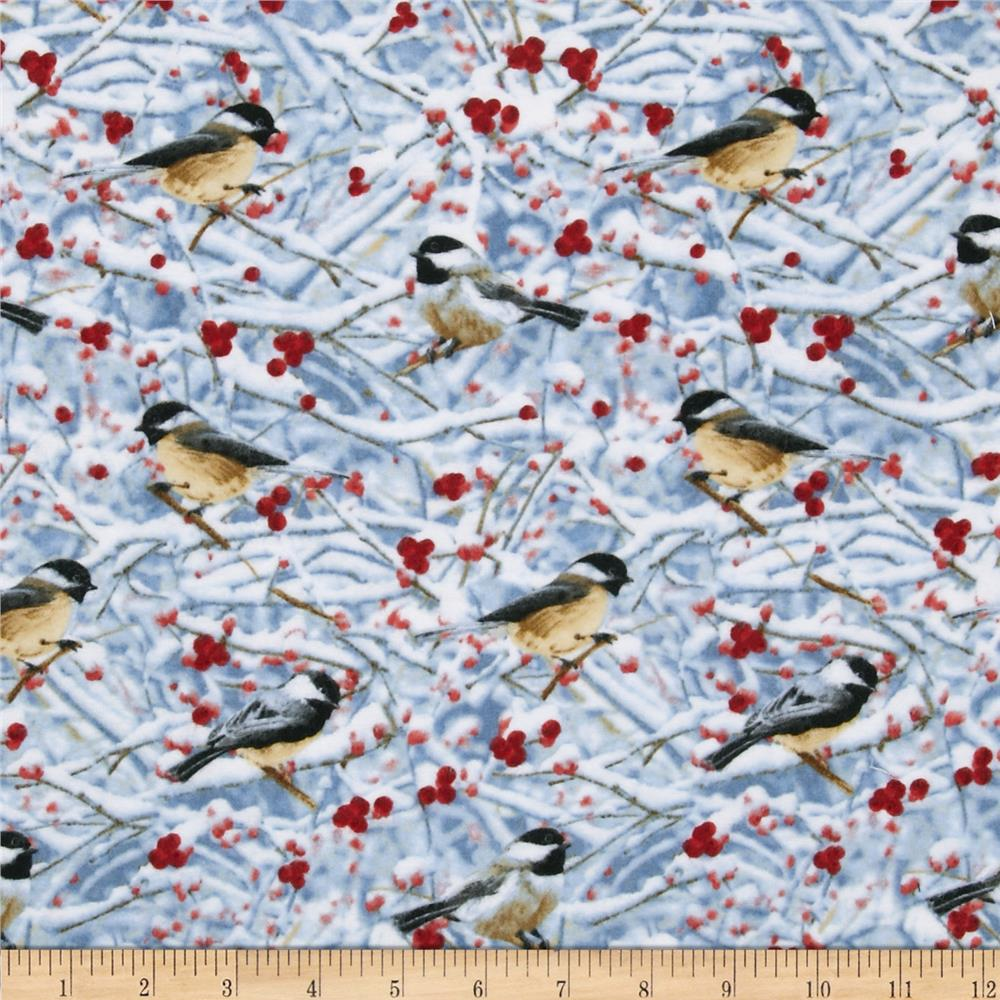 Timeless Treasures Cuddle Flannel Chickadees In Snow Grey