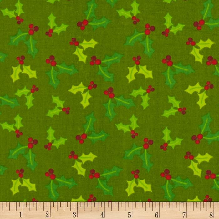 Owl Christmas Mistletoe Green