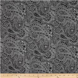 "108"" Wide Quilt Back Chelsea Dot Paisley Black/White"