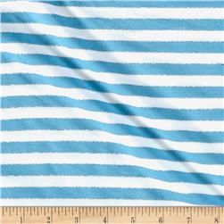 Jersey Knit Stripe Turquoise/White/Silver