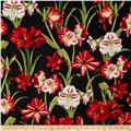 Making Spirits Bright 57 In. Wide Amaryllis Allover Black