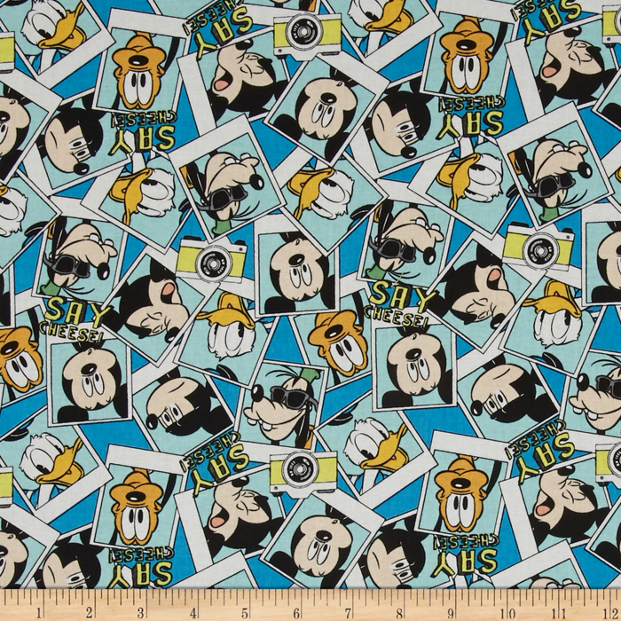 Disney Mickey Say Cheese Packed Photographs Blue Fabric by E. E. Schenck in USA