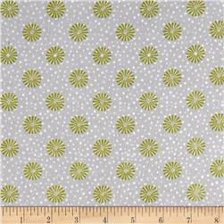 Playful Penguins Flannel Snopwflake Ditzy Grey Fabric
