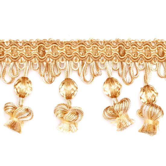 Expo 2 1/2'' Onion Tassel Bead Fringe Gold/Tan