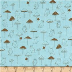 Kokka Gauze Owls & Mushrooms Blue/Brown