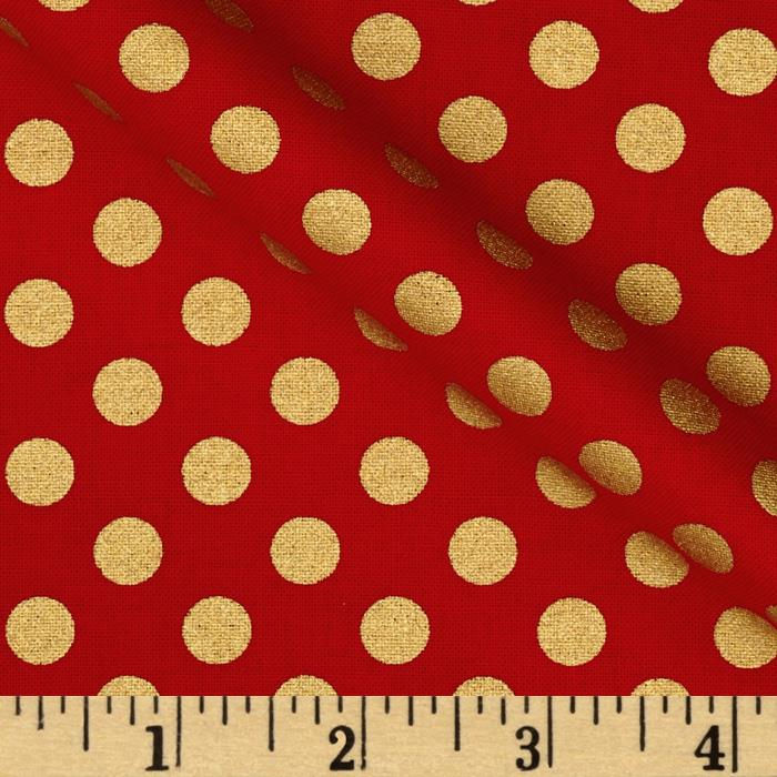 Kaufman Spot On Metallic Medium Dot Scarlet