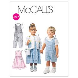 McCall's Toddlers' Rompers In 2 Lengths, Dress, Jacket and Shirt Pattern M6304 Size CB0